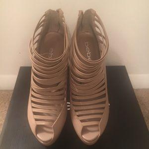Bebe women's size 8 Natural heeled sandal